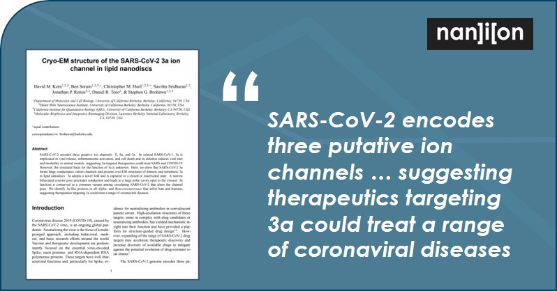26.06.2020: Publication Alert - SARS-CoV-2 encodes three putative ion channels: E, 8a, and 3a. Implications for the development of a therapeutic target?