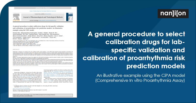 06.07.2020: Publication Alert - A general procedure to select calibration drugs for lab-specific validation and calibration of proarrhythmia risk prediction models