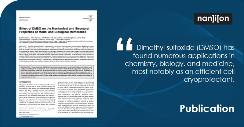 29.07.2020: Publication Alert - A Study to Understand and Quantify the Effects of DMSO on Multicomponent Lipid Membranes