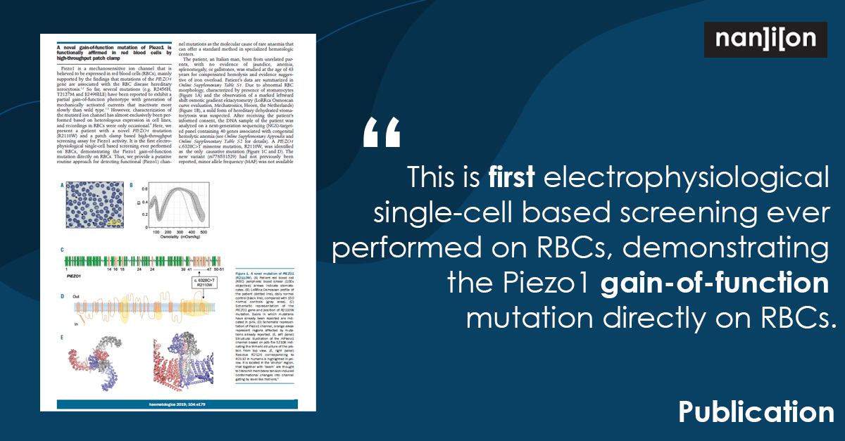 19.01.2021: Publication Alert - A Novel Gain-Of-Function Mutation Of Piezo1 Is Functionally Affirmed In Red Blood Cells By High-Throughput Patch Clamp