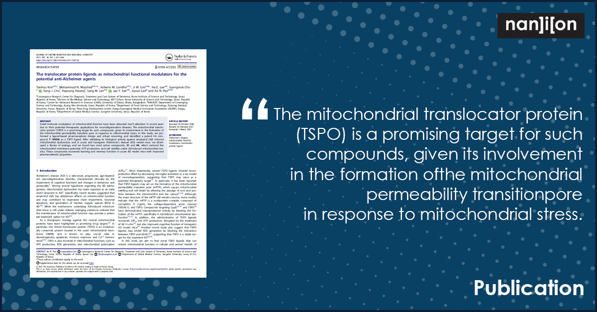 14.04.2021: Publication Alert - The translocator protein ligands as mitochondrial functional modulators for the potential anti-Alzheimer agents