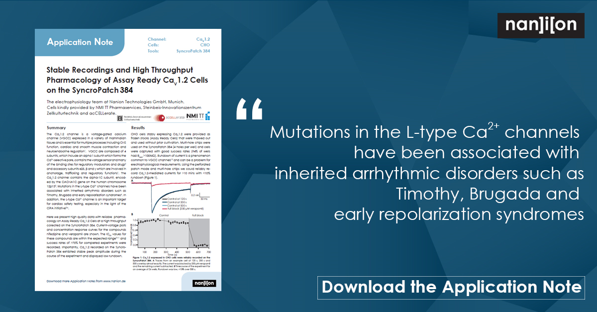 12.05.2021 - Free Application Note - Stable Recordings and High Throughput Pharmacology of Assay Ready CaV1.2 Cells on the SyncroPatch 384
