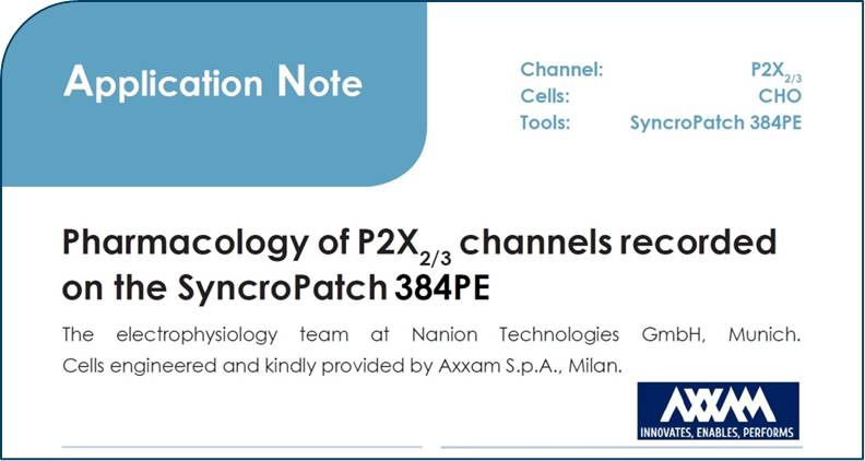 01.02.2019: New Application Note showing P2X2/3 recorded on the SyncroPatch 384PE with 97% success rates now available!